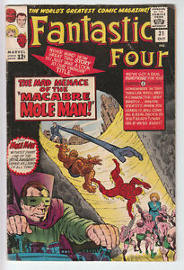 FANTASTIC FOUR # 31 1964 Mole Man AVENGERS CROSSOVER Jack Kirby VG+ 4.5
