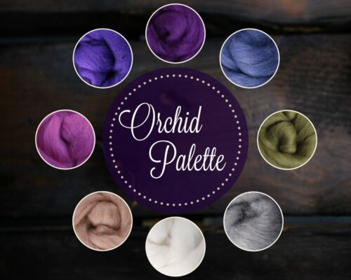 ORCHID Color Palette Wool Roving Fiber 2oz//56 grams Needle Felting Spinning Soap