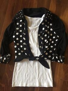8ffcee9ad0b897 Image is loading girls-JUSTICE-COLLARED-SHIRT-polka-dot-BLACK-WHITE-