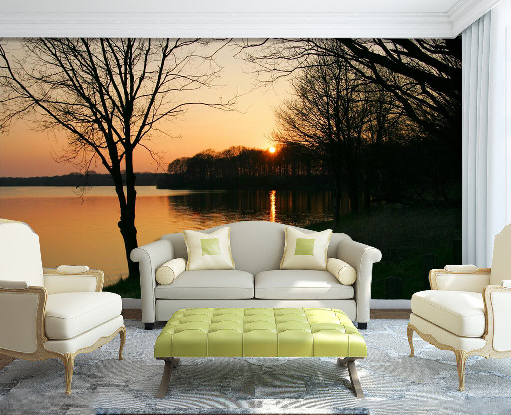 3D Forest Lake Sunset 0221 Paper Wall Print Wall Decal Wall Deco Indoor Murals