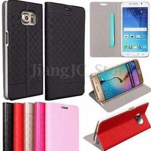 Retro-Grid-Flip-PU-Leather-Wallet-Cover-Case-Stand-For-Samsung-Galaxy-S6-S6-Edge