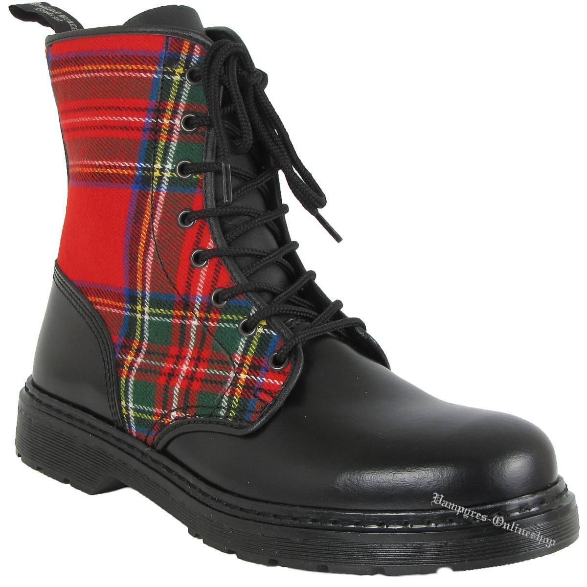 botas And Braces Easy 8-Loch Tartan Muster Rot Noir Leder Negro Stiefel Zapatos Noir Rot b48d42