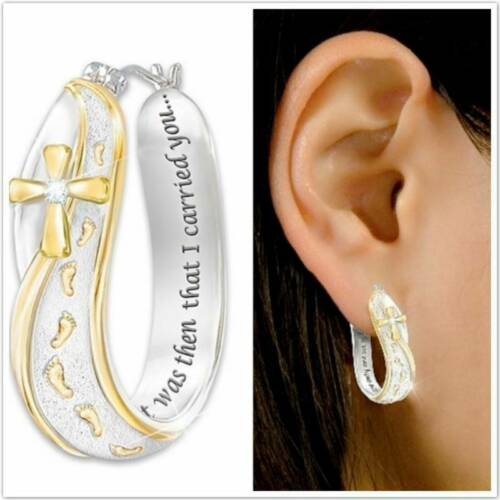 Novelty Two Tone Footprint Cross Earrings Wedding Engagement Bridal Jewelry Gift