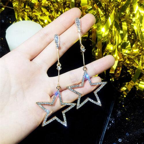 Argent//Or Plaqué Chaîne Longue Cristal pentagramme Star Dangle Drop Boucles d/'oreille S