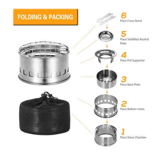 TOMSHOO Folding Windproof Stainless Steel Wood Alcohol Burning Stove UK T8H7