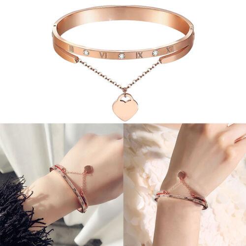 Femmes bracelet en or rose bracelets coeur amour charme bijoux cadeau YCS