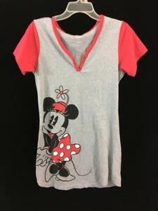 Disney-Minnie-Mouse-dress-nightgown-short-sleeve-Size-M-L-gray-red