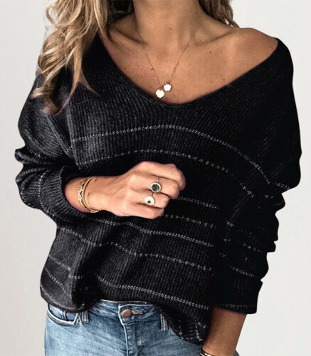 Blouse Sweater Black Knit Jumper Womens Striped Long Sleeve Pullover Tops
