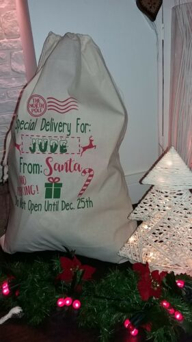 Personalised Santa Sacks,Christmas Sack,Santa bag,Xmas Presents,Gifts XL 70x50cm