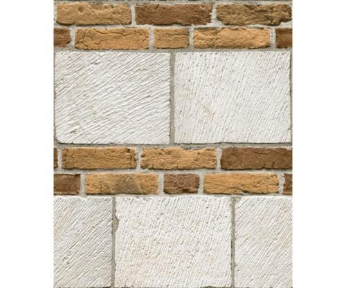 Blanc Effet Brique Papier Peint blanc-cassé Texturé Gris industriel Muriva