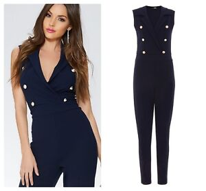 31ab53f9553 ex Quiz Navy Crepe Military Gold Button Tapered Occasion Jumpsuit