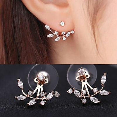 Womens Lady Crystal Leaf Ear Jacket Earrings Gold Plated Back Cuff Stud Earring