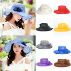 Retro Spinning Women/Girl Wide Brim Sun Hat Wedding Tea Party Church Cap Gift