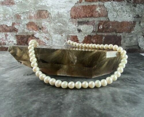 Natural 7~8mm Potato Round White Cultured Fresh Water Pearl Loose Beads