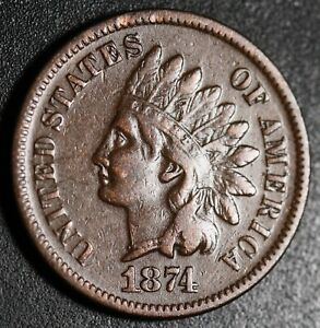 1874-INDIAN-HEAD-CENT-With-LIBERTY-VF-VERY-FINE