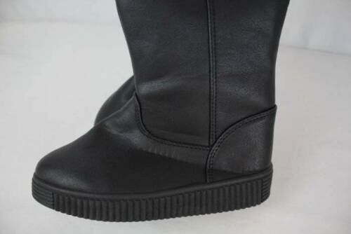 NEW Girls Black Winter Boots Size 1 Zip Up Faux Leather Shoes Faux Fur Lining