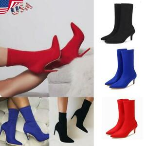 USA-Women-Kitten-Heel-Shoes-High-Ankle-Boots-Pointed-Toe-Booties-Stretch-Socks