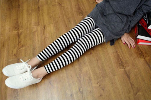 Women Fashion Skinny Punk Black White Stripe Horizontal Legging Pants