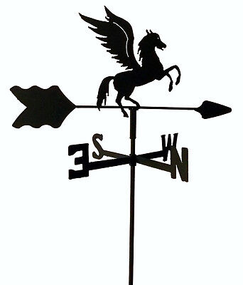 PEGASUS FLYING HORSE GARDEN  WEATHERVANE BLACK WROUGHT IRON LOOK MADE IN USA