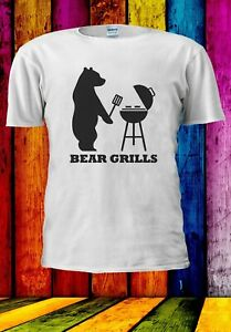Bear-Grills-BBQ-BARBECUE-programma-TV-Divertente-Regalo-Uomini-Donne-Unisex-T-shirt-2919