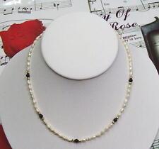 "Single Strand Fresh Water Pearls With B.Onyx & 14K GF Beads Necklace, 16"". FWBON"