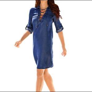 new product f2566 68391 Dettagli su Vestito Blu Jeans Donna S 42 Scollo A V Corsetto Mini Abito  Denim Maniche 3/4