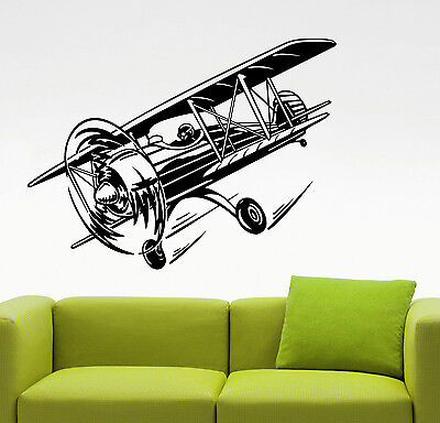 Airplane Biplane Wall Decal Vintage Aviation Art Vinyl