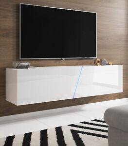 Tv Lowboard Weiss Hochglanz Flat Unterteil Board Hangend Stehend