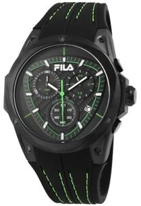 Fila-Herrenuhr-Schwarz-Gruen-Chronograph-Datum-Silikon-Quarz-Armbanduhr-X38821005