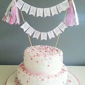 Image Is Loading Pink Amp Silver Cake Topper First Birthday Hen