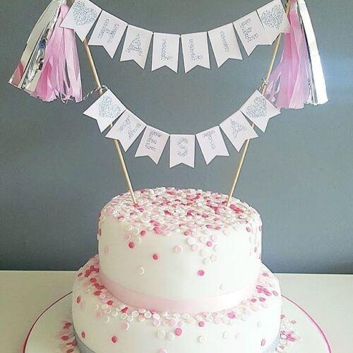 Birthday Baby Pink /& Silver Cake Topper Christening Hen Party First Birthday