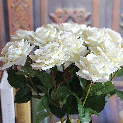 Milk White Mini Rose Spring Artificial Fake Flower Bouquet Wedding Decor
