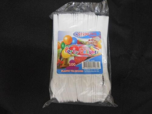 White Plastic Disposable Teaspoons Parties Weddings BBQ cutlery Pack of 100-1000