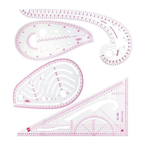 4 Pcs Sewing Ruler Set Metric Ruler Set French Curve Pattern Grading Ru K1F9