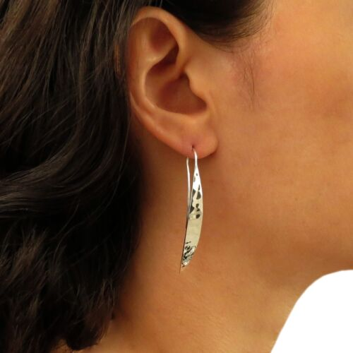 Threader Earrings 925 Silver Hammered Drops Gift Boxed