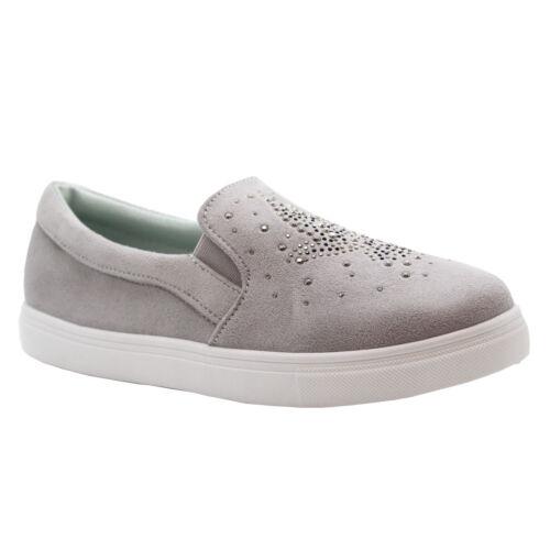 Ladies Womens Flat Slip On Plimsolls Diamante Pumps Trainers Sneakers Shoes Size