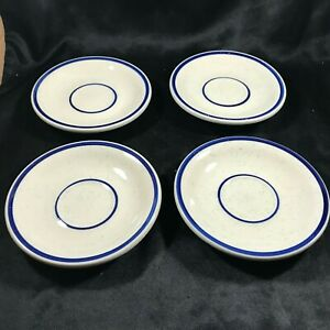 Set-of-4-Vintage-REGO-Restaurant-Ware-Blue-Stripe-Saucers
