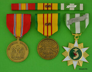 Vietnam-Campaign-Service-National-Defense-Medals-amp-Ribbon-Bar-2-Campaign-Stars