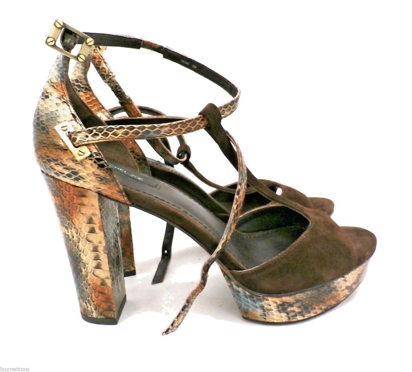 economico Rachel Rachel Rachel Zoe Paloma Snakeskin Suede Platform T Strap Sandals  295 NWOB Sz 10 B M  si affrettò a vedere
