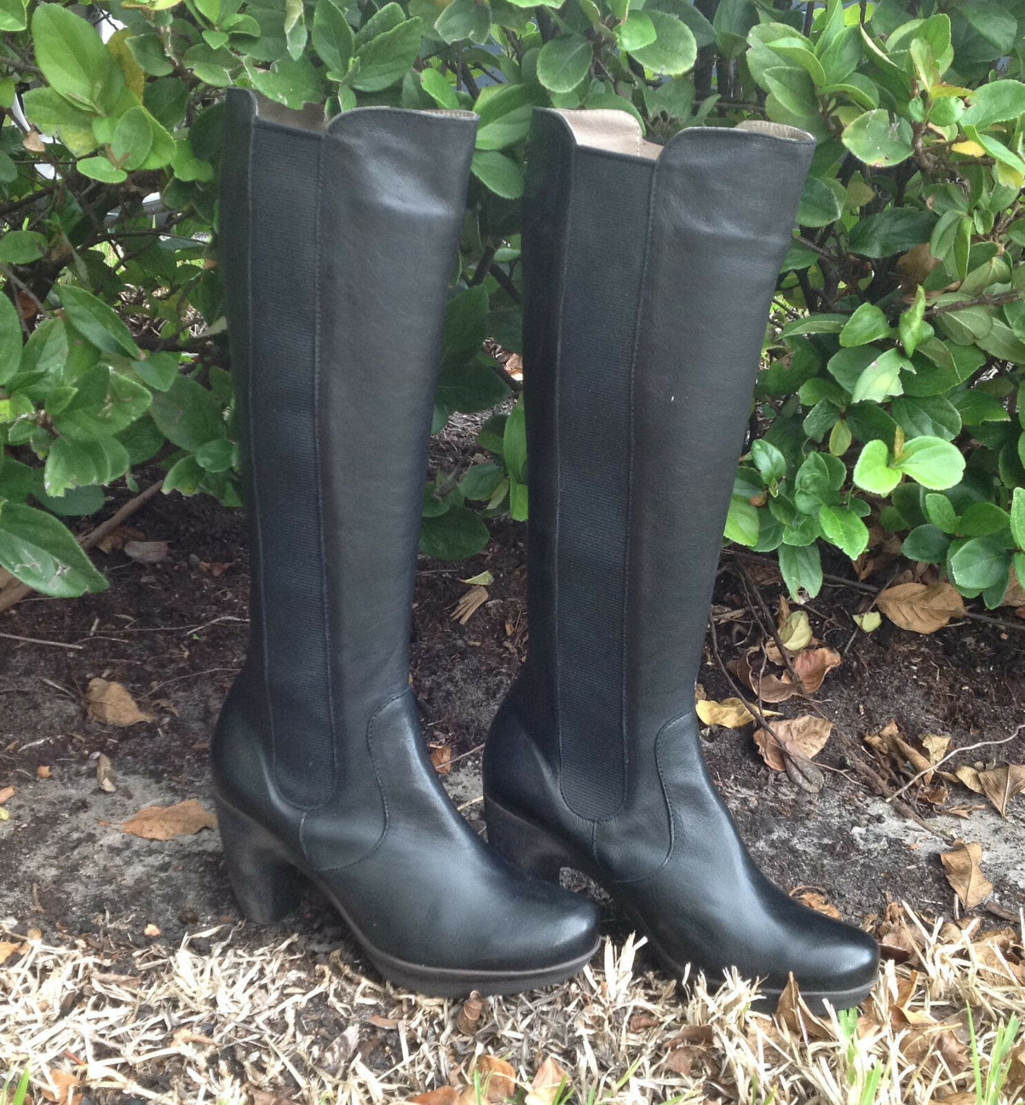 Web Black Leather Boots 0396 Kay Valeria Size Eur 37 US 5