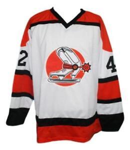 Any-Name-Number-Size-Denver-Spurs-Custom-Retro-Hockey-Jersey-White