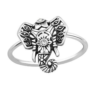 Ladies-925-Sterling-Silver-Crystal-Elephant-Ring-UK-Seller-Fast-Postage-Boxed