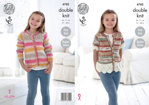 King Cole Girls Double Knitting Pattern Easy Knit Lace Style Hem Cardigans 4782
