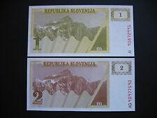 SLOVENIA  1 + 2 Tolarjev 1990  (P1a + P2a)  UNC