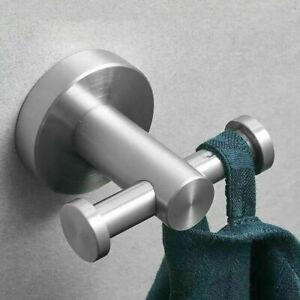 Brushed-Nickel-Double-Wall-Hook-Towel-Robe-Stainless-Steel-304-Hanger-Hook