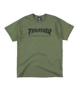 4be54a2a763c Details about Thrasher SKATE MAG Army Green Black Print Logo Standard Fit  S/S Men's T-Shirt
