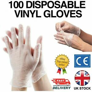 100 DISPOSABLE POWDER FREE LATEX FREE CLEAR VINYL GLOVES NITRILE CLEAR MEDIUM