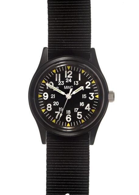 MWC Matt Black 1960/70s Vietnam Pattern Military Watch with Black Webbing Strap