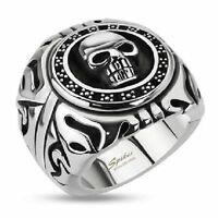 Skull Shield Wide Cast Stainless Steel Biker Ring