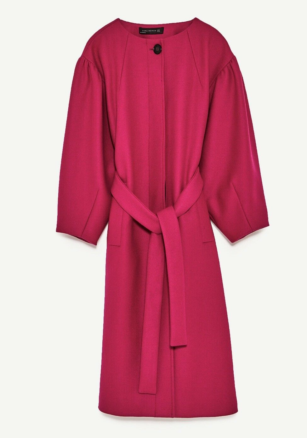 Zara Women's Coat Full Sleeves Fushia Size M NWT